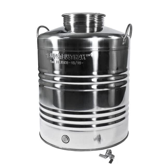 Традиционная бочка с краном на 30 литров из нержавеющей стали Sansone - фото 6083