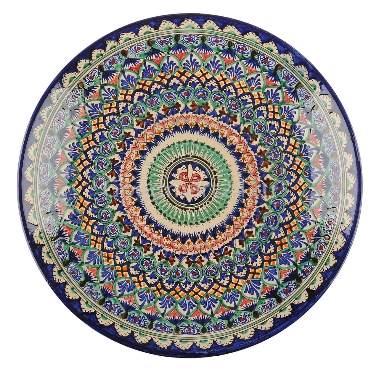 Ляган Риштанская Керамика 32 см. плоский, синий - фото 7316