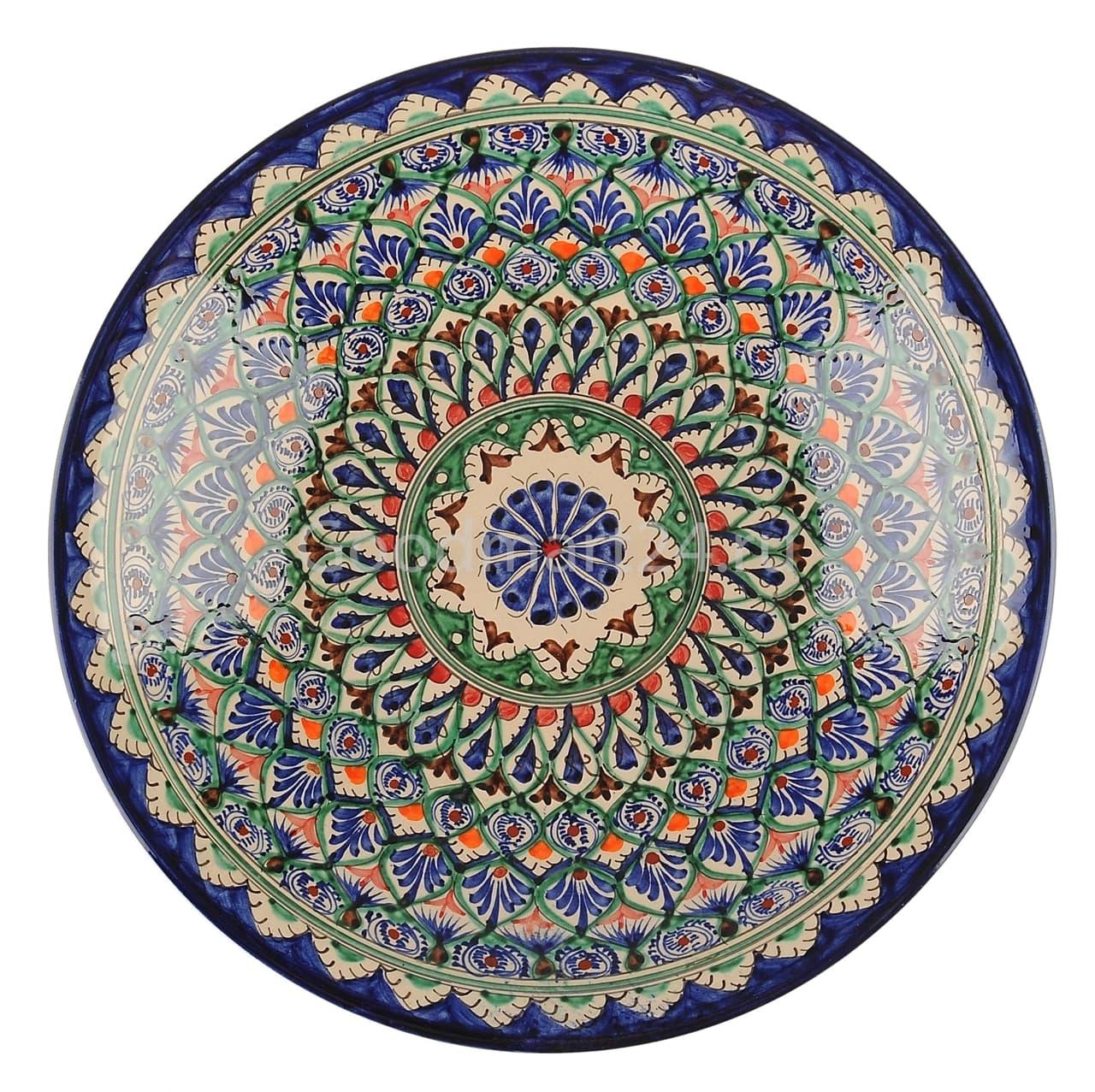 Ляган Риштанская Керамика 32 см. плоский, синий - фото 7317