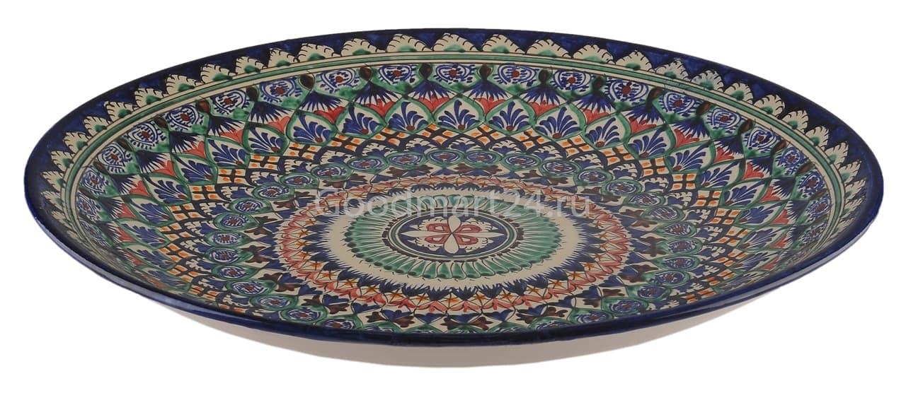 Ляган Риштанская Керамика 32 см. плоский, синий - фото 7319