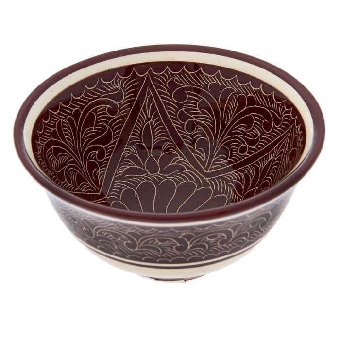Пиала Риштанская Керамика большая d-11 см. h-5,5 см. коричневая - фото 7449