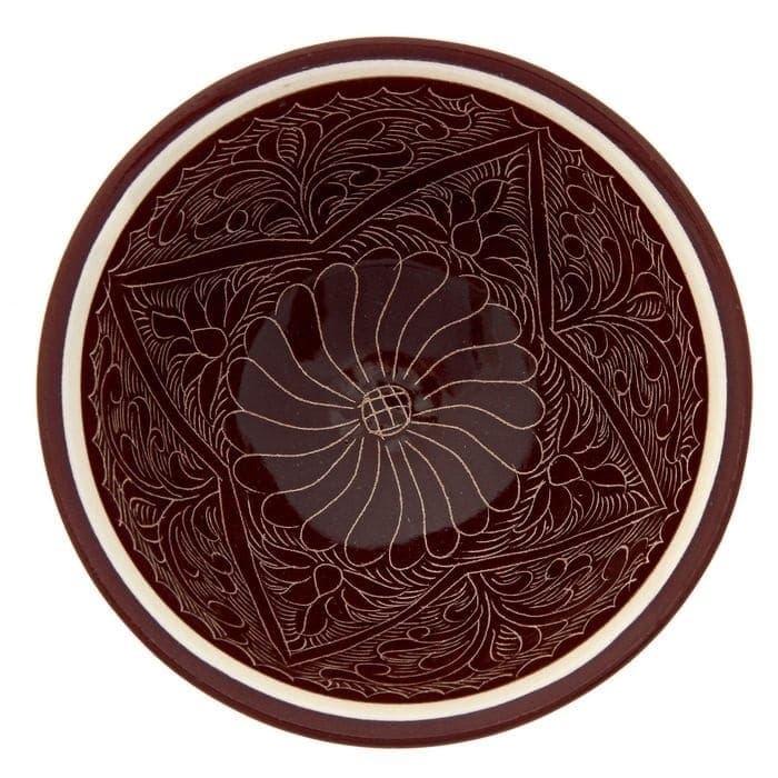 Пиала Риштанская Керамика большая d-11 см. h-5,5 см. коричневая - фото 7450