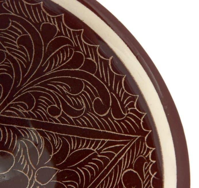 Пиала Риштанская Керамика большая d-11 см. h-5,5 см. коричневая - фото 7451