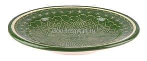 Тарелка плоская Риштанская Керамика 17 см. зеленая