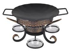 Садж сковорода 29 см, сталь + подставка кованная Шелковый путь премиум
