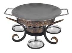 Садж сковорода 29 см, нержавеющая сталь + подставка кованная Шелковый путь премиум