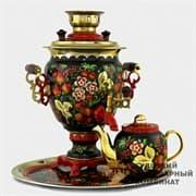 Набор Хохлома традиционная 3 л. электрический желудь, поднос, чайник ТСК
